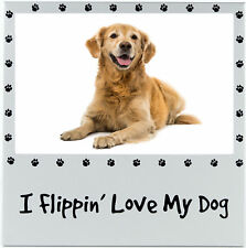"I Flippin'Amour My Dog "" 4x6 Cadre Photo Image Couleur Argent Neuf Métal Animal"