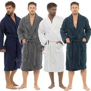 Mens 100% Cotton Towel Bathrobe Terry Towelling Sizes M-XL Dressing Gown