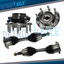 2 Complete CV Drive Shaft Axles + 2 New 8-LUG Wheel Hub Bearing Assemblies w/ABS
