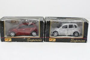 (2) Maisto Motorized Red and Silver PT Cruiser Lot with Boxes