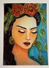 "Original 6 x 4"" Print 3D Gold Accents Hand Added Gorgeous Frida Kahlo Portrait"