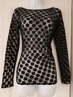 Womens Coast Black Stretch Spotty Mesh Netting Ruched Long Sleeve Top Small.