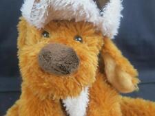 BIG SHAGGY CINNAMON BROWN PUPPY DOG WINTER SUEDE HAT CREAM SCARF PLUSH STUFFED