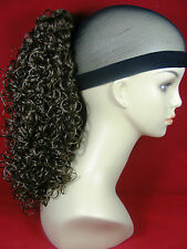 """Hairpiece Clip-On 16"""" Medium Ponytail Brunettes Synthetic Tight Curlys"""