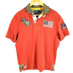 Polo Ralph Lauren Mountain Expedition Polo Shirt Large Embroidered Red Patch Red