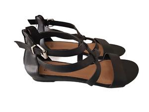 NOVO Womens Black Sandals STEVIE Buckle Zip Adjustable Slip on Shoes Size 7