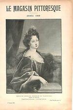 Portrait Marie de Lorraine Duchesse de Valentinois de Foucher GRAVURE PRINT 1909