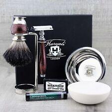 5 Pezzi Set da barba (Nero Badger Pennello DE rasoio di sicurezza Supporto Sapone Ciotola + Sapone)
