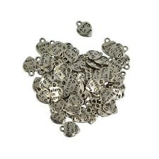 50pcs Tibet Silver Love Heart Charms Pendants Findings Jewelry Making Craft