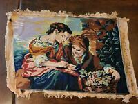 Vintage Needlepoint Picture~Women Surrounded by Wildflowers~Finished 19.5 x 13.5