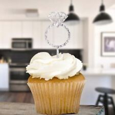 Silver Glitter Diamond Ring Cupcake Topper X8 Baking Cake Pick Decoration