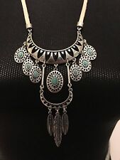 LUCKY BRAND Silver-Tone Turquoise Stone & Feather Statement Necklace NWT L@@K!!