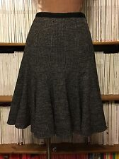 "PAULE KA monochrome print wool fit flare skirt FR 38 W 29"" UK 10 12 black white"