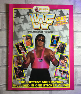 WWF Wrestling Sticker Book Merlin Bret Hart Pink Cover 1993