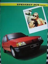 brochure PEUGEOT 205 XT XR XL XRD XLD 1985  français couleurs