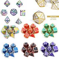 7Pcs/Set Embossed Heavy Metal Polyhedral Dice For DND RPG MTG Game + Bag