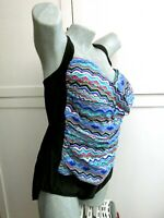 NWT Maxine Hollywood One Piece Swimsuit Black Multi-color Twist Front Womens 24W