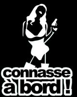 "Stickers Tuning Carrosserie Tout Support "" Connasse A Bord "" Colorie Blanc"