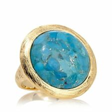 BELLEZZA GOLDTONE CUSHION CUT TURQUOISE DIAMOND CUT BRONZE RING SIZE 5 HSN