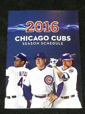 Chicago Cubs 2016 Pocket Schedule - Rizzo - Bryant - Maddon