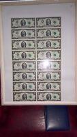 FRAMED Uncut Sheet of 16 1976 *Star *Note Series legal $2 Dollar Bills #461