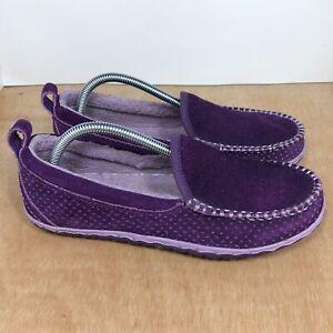 LL BEAN Wicked Good Shearling Fur Lined Venetian Slippers Purple Size 9 M