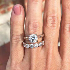 3.50 Ct Diamond Round Cut 10K Two Tone Gold Solitaire Engagement Ring Bridal Set