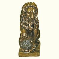 Lion Garden Statue Large Shield Outdoor Sculpture Porch Entry Decor Pedestal Art