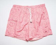 Isaia $335 NWT Red White Coral Print Nylon Bathing Suit Swimsuit Beachwear L