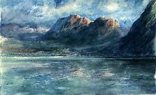 PERRONNET Maurice Paysage Montagne authentique (vente publique) aquarelle