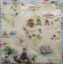 """Aladin' Travels 100% Cotton Fabric Pillow Cushion Cover 18"""" x 18"""" #3"""