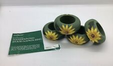 4 Wood Sunflower Hand Painted Napkin Rings Holders Made In Philippines With Box