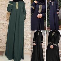 Donna manica lunga Abaya Jilbab musulmano Maxi Abito Casual vestito sciolto 5XL