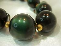 Vintage 1970's Pretty Deep Emerald Green Monnglow Lucite Bead  Necklace 677o9