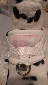 Hundegeschirr XS, Brustgeschirr, weiß, rosa Softgeschirr, Halsband, Welpen