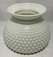 "Hobnail White Milk Glass Oil Lamp Light Shade 6 7/8"" Base Fitter 5 3/8""H Vintage"