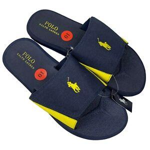 Polo Ralph Lauren Slides Men's 10 Navy Yellow Canvas Adjustable Sandal Slides
