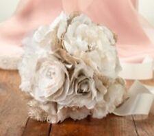Burlap and Flower wedding Bouquet bride bridesmaids flowergirl
