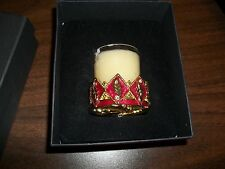 OFF 5TH FOLIO HOME LEAF & CROWN VOTIVE CANDLE HOLDER RUBY RED &GOLD CROWN DESIGN