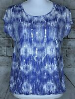 Chicos 0 Top Short Sleeve Sequin Embellished Elastic Waist Blue White Blouse EUC