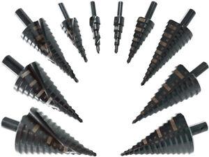 Stufenbohrer Konus Spiral Bohrer Kegel Senker 4 - 52 mm HSS Metall Fräser TIALN