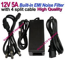 DC 12V 5A Power Supply Adapter EMI Filter 1-4 Splitter Cable for CCTV Camera DVR