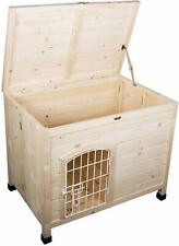 Indoor Wooden Dog House with Wire Door, Foldable Kennel for Home