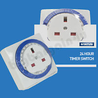 24 Hour Switch Time Clock Socket 24hr Mains Plug In Timer Uk 3Pin Mechanical New