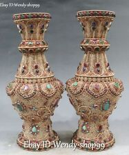 "13"" Tibet Silver Filigree Gold Gild inlay Gem Palace Flower Bottle Vase Jar Pair"