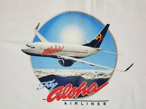 """OFFICIAL ALOHA AIRLINES """"FLY ALOHA"""" CAMPAIGN T-SHIRT SIZE LARGE"""