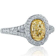 1.48 Ct Oval Cut Yellow Diamond Engagement Halo Ring 18k White Gold Split Shank
