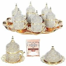 27 Pc Handmade Turkish Arabic Coffee Cup Saucer  Decorated Crystal Set (GOLD)