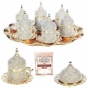 27 Pc Handmade Turkish Arabic Coffee Cup Saucer  Decorated Crystal Set (GOLD)