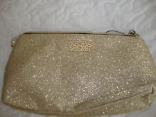 Victoria's Secret travel bag cosmetic make up purse gold shimmer 9 X 5